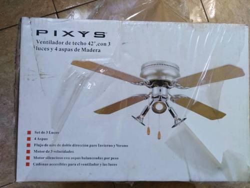 Ventilador De Techo Pixys 42 Aspas De Madera, Con 3 Luces