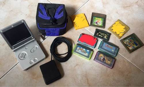 Consola De Nintendo Game Boy Advance Sp Plateada + Juegos.