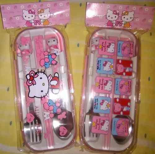 Set De Cubiertos Hello Kitty. Acero Inoxidable
