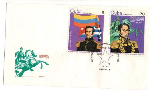 Sobre Primer Dia Bicentenario Nac. Simon Bolivar