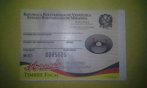 Timbre Fiscal Miranda 3ut