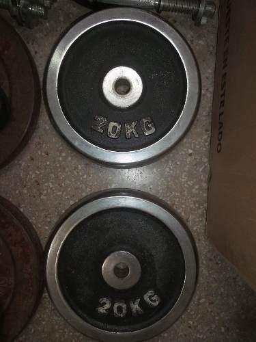 Disco 20kg Cromados Para Pesas Ejercicio