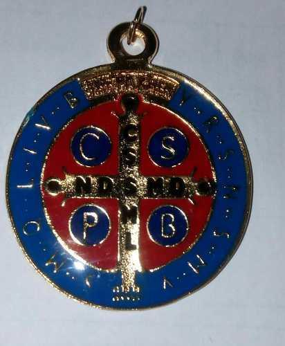 Medalla De San Benito Abad Esmaltada De Colores