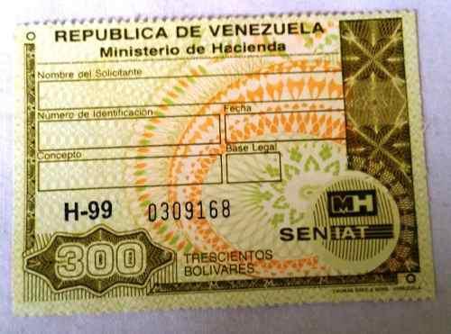 Timbre Fiscal 300 Bs Ministerio De Hacienda