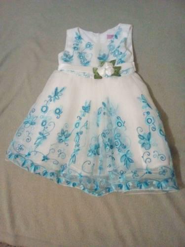 Vestido Niña Blanco Flores Azules Talla 6 Marca Trendy