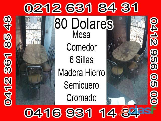 MESA COMEDOR DE HIERRO y MADERA OVALADO