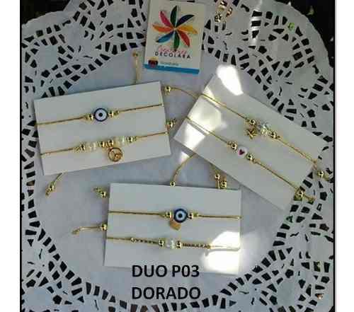 Pulseras Hilo Dorado Ojo Turco / Perla Infinito 2 Set