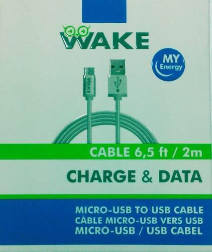 Cable Wake Micro Usb Nylon 2 Mts Blanco Tienda Fisica