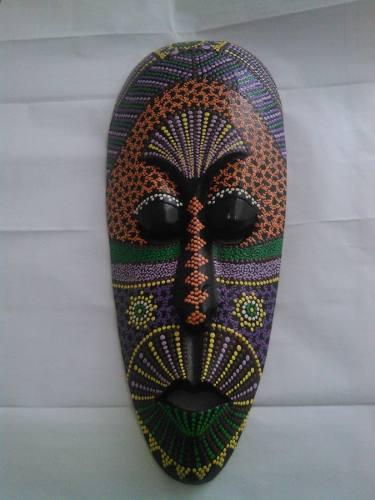 Mascara Original De Bali Y Estatuilla Tallada En Madera R50