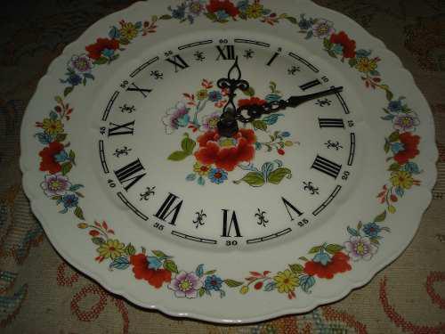 Reloj De Porcelana Limoges En Forma De Plato En Perfecto Est