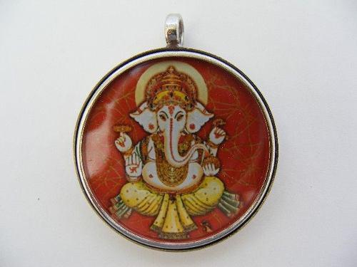 Ganesha Dije Medalla Pequeña En Acero Y Cristal