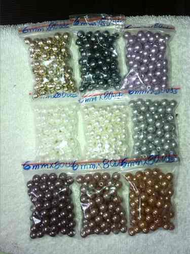 Perlas 6 Mm Para Bisutería Y Manualidades X 3 Paquetes