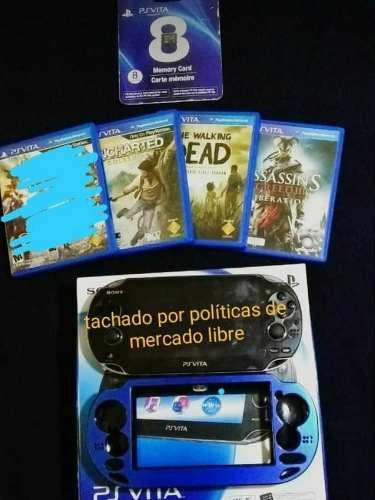 Psvita Con Juegos,cargador,memoria Y Protector