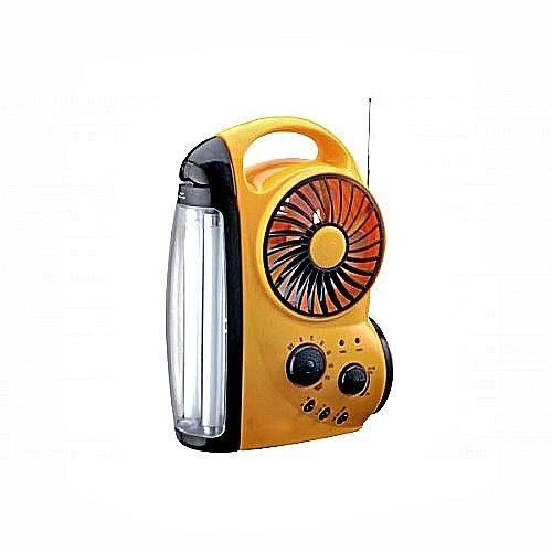 Ventilador Recargable Con Lampara Y Radio Integrada