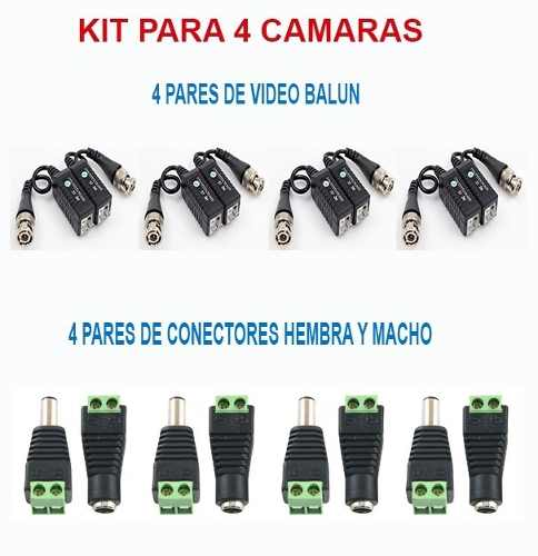 Kit De Video Balun Y Conectores Dc Macho Y Hembra 4 Camaras