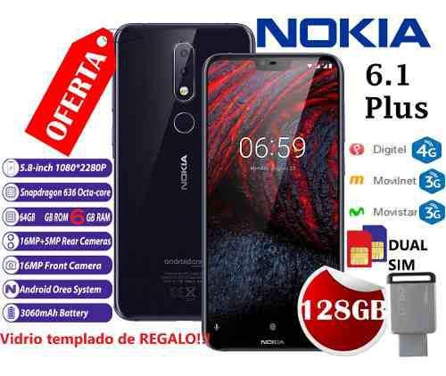 Nokia 6.1 Plus6 Ram64gb +pendrive 128gb+vidrio Temp+dual Sim
