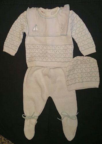 Conjunto Tejido Ropa Bebe-niño Color Blanco Y Azul Oferta