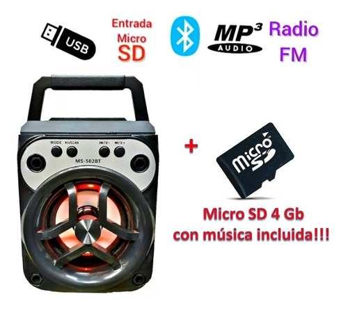 Corneta Recargable Bluetooth, Usb Fm + Micro 4gb Con Musica
