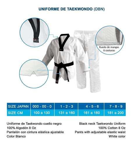Uniforme Bushido De Taekwondo Talla 000 Al 0