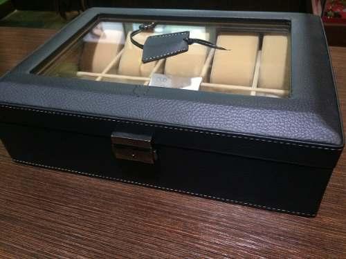 Venefox Caja De Relojes Para 10 Unidades En Cuero Negro