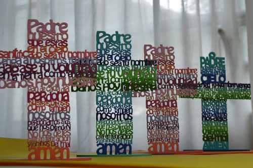 Cruz Padre Nuestro Oracion. Mdf. Decoracion Hogar 20 Cm