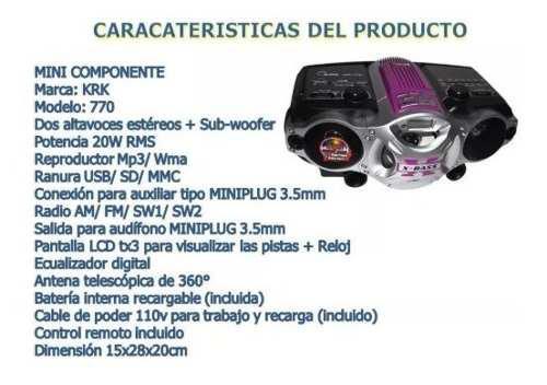 Radio Fm Am Minicomponente Krk-770 Mp3 Usb Sd Card