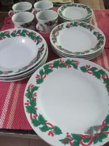 Juego Vajilla De Porcelana Para Navidad, 20 Piezas