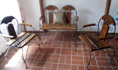 Muebles Para Porche 3 Piezas Madera Y Hierro Forjado