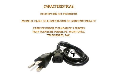 Cable De Alimentacion De Corriente Para Pc, Monitor.