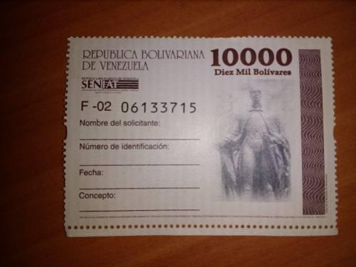 Timbre Fiscal De 10.000 Bolivares