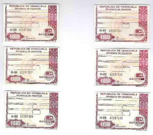 Timbres Fiscales De 1.000 Bolívares 3 Seriales Consecutivos