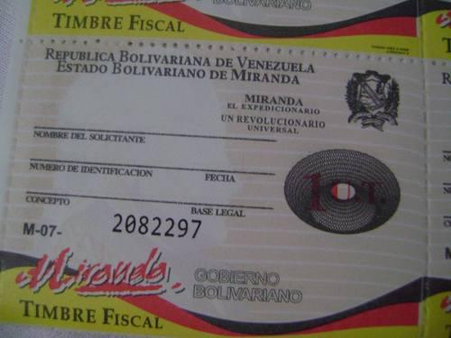 Timbres Fiscales Estampillas De Miranda 1 Ut 3 Por 60.000