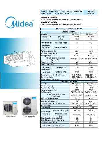 Aire Acondicionado Fan Coil 3 Tr Midea Descarga Horizontal
