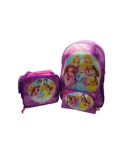 Bolso Morral Escolar Con Lonchera Disney Princesas.