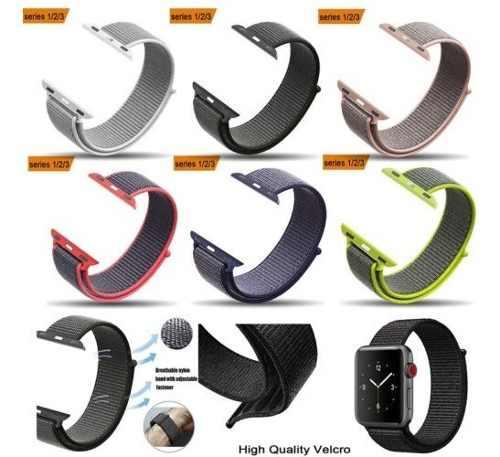 Correa Nylon Suave Apple Watch Generica 42mm - Negro Y Rosa