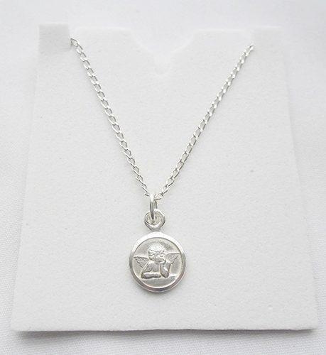Cadena Bautizo 50cm Plata + Medalla Angel De Guarda