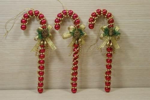 Set 3 Bastones Rojos Para Arbolito De Navidad