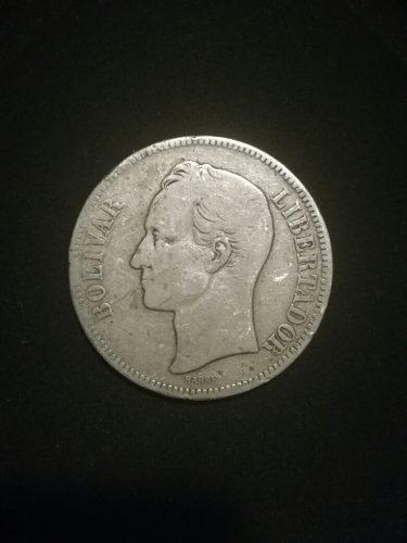 Moneda Antigua 25 Gram Plata Lei 900, Fuerte 5 Bs