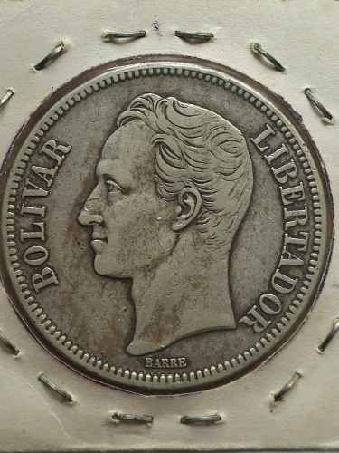Moneda De Plata 5 Bolivares Fuerte,