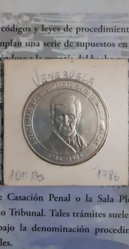 Moneda De Plata Conmemorativa Jose Maria Vargas De 100 Bs