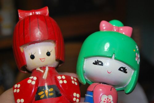 Figuras Muñecas Tallas Geishas Madera Chinas