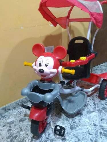 Triciclo Infantil De Niña De Mine Mouse Rojo Con Rosado
