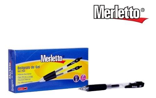 Bolígrafo De Gel Negro Merletto Precio Por Caja 12 Unidades