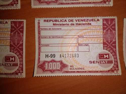 Timbres Fiscales De 1.000 Bolivares Serie H-99 Nunca Usados