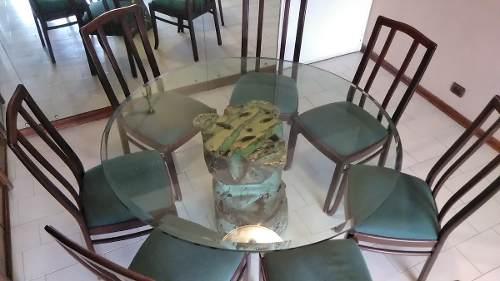 Comedor Redondo Con Tope De Vidrio Y Base De Bronce
