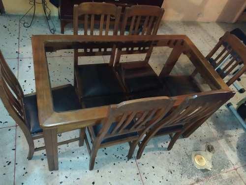 Juego D Comedor 6 Puestos Vidrio/saman,asientos D Cuero260us