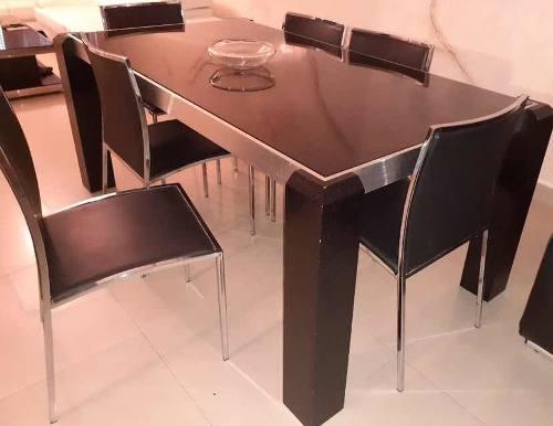 Juego De Comedor 6 Puestos Lujoso, Vidrio Templado/aluminio