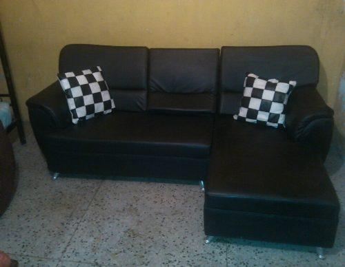 Juego De Muebles Moderno Tipo L De 2 Piezas Color Negros