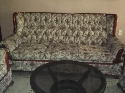 Juego Muebles De Sala En Tela Y Madera Usado
