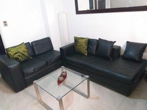 Mueble Para Sala En Bipiel Negro En Forma De L
